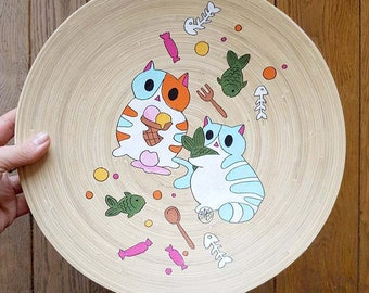 HAPPY PLATE  - Hand painted bamboo serving plate CATS - funny cats -  Mad CATalyst series