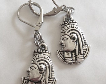 Tutankhamen earrings Egyptian Egypt Pharaoh handmade silver tone for pierced ears nickel free