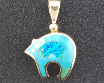 14K Gold Bear Reversible Inlay ~ Authentic Native American