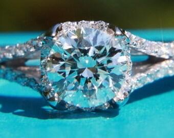 CUSTOM Made - 1.25ct  Round - Split Shank-  Halo - Pave - Antique Style - Diamond Engagement Ring 14K white gold - Weddings- Brides - BP001