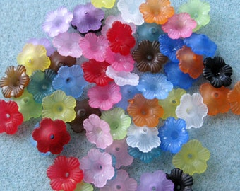 You Pick Colors Frosted Acrylic Lucite Flower Bead Mix 12mm 403