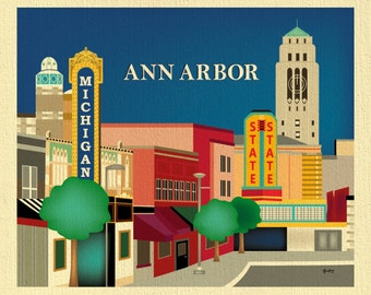 Ann Arbor Michigan Print, Ann Arbor Skyline, Ann Arbor Main Street, University of Michigan, Loose Petals Wall Art Print - style  E8-O-ANN-MI