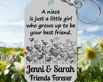 Hearts * Keychain Gift for NIECE, Personalized for FREE with NAMES, Laser Engraved