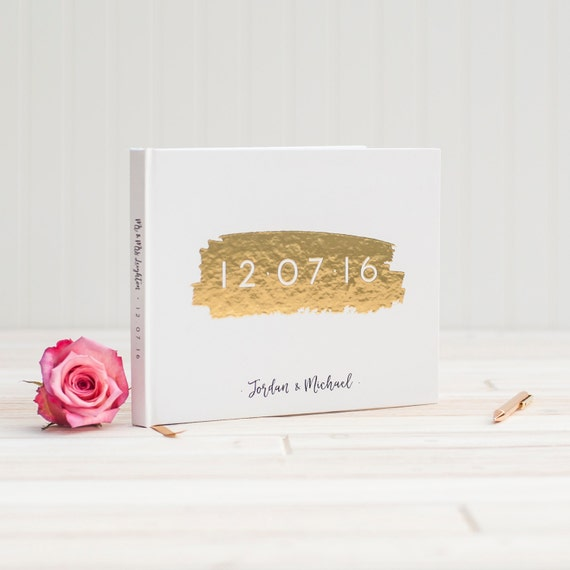 Wedding Guest Book landscape horizontal wedding guestbook with Real Gold Foil personalized wedding photo book planner instant photo booth