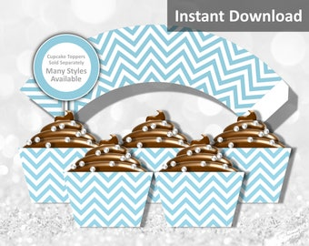 Light Teal Blue Chevron Cupcake Wrapper Instant Download, Party Decorations