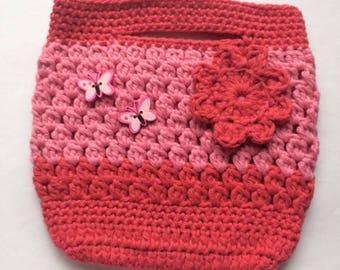 Pink Flower Crochet Handbag