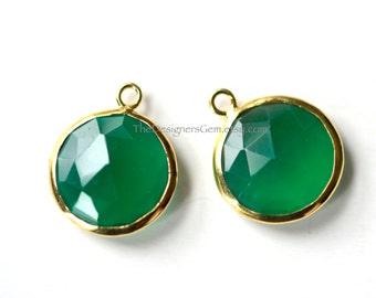 Round Emerald Quartz Coin Pendant with Vermeil Gold Bezel 19x16mm