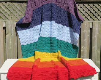 Blanket / Chakra Blanket / 52 x 62 / Crochet Blanket  / Warm Blanket / Chakra / Crochet Throw / Throw / Afghan / Mothers Day Gift