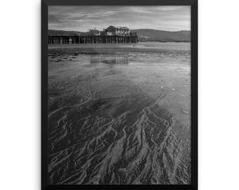 Pillar Point Harbor, Half Moon Bay, Romeo Pier, Black and White Photography, Landscape Photography, Fine Art Print, Wall Art