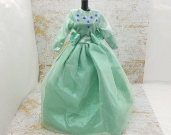 Barbie Sage Green Fluffy Gown Bows  fashions Outfit 11 inch doll