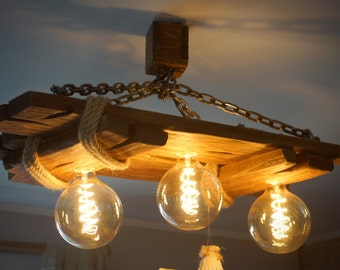 Aged wood ceiling lamp, chandelier, rustic, wooden light, edison bulbs