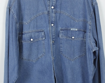 Vintage HIS jeans shirt - denim - long sleeves - oversized