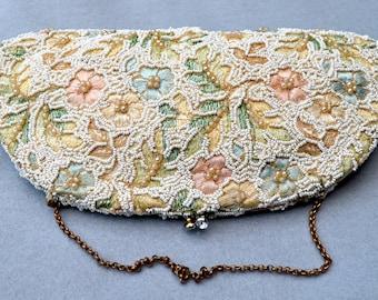 Jolles Original Perlen, bestickte Clutch Hochzeit Geldbörse Vintage