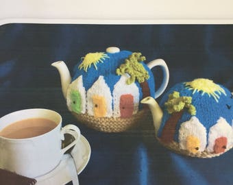 Paignton tea cozy knitting pattern is for 2 sizes of cosies and an exclusive design from Spindledrift Susan Gibb for Purple Valley Yarn