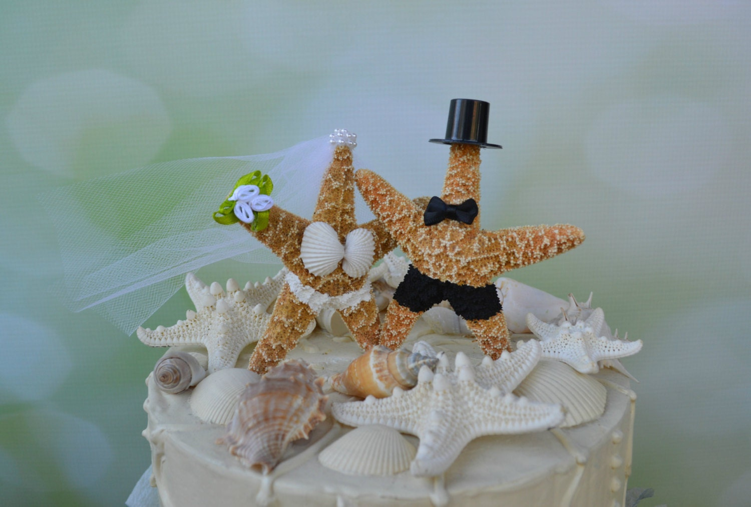 Quick Ship Casual Beach Themed Wedding Cake Toppers