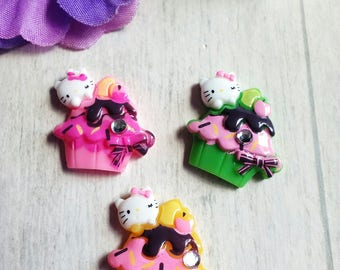 Set of 3 cabochons cupcake and cat resin clay