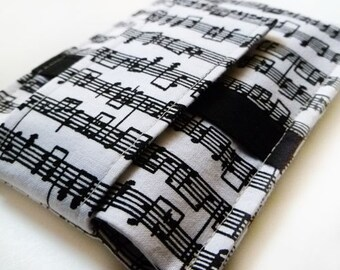 Cell Phone Sleeve, iphone case, samsung case, samsung phone sleeve, MADE TO FIT all brands - Music Notes