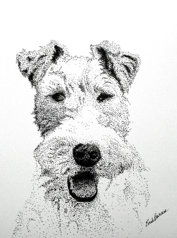 Instant Download of Wire Haired Fox Terrier Pointillism