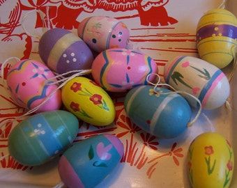 fun pastels painted wooden eggs