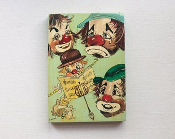 Folk Art Painting of Clowns and Dancing Mice, Wall Art for Child's Room