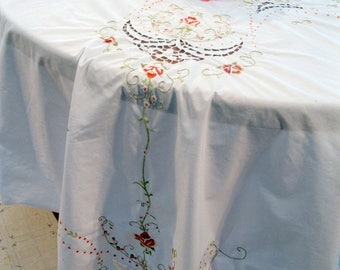 Large Rectangular Tablecloth, Wedding Tablecloth, Open Cutwork, Embroidery, Banquet Linens, Dining Decor, by mailordervintage on etsy