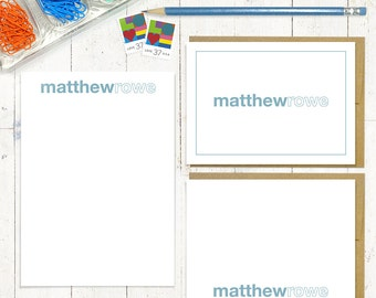 complete personalized stationery set - LAST NAME OUTLINE - personalized stationary - note cards - notepad - kids stationery
