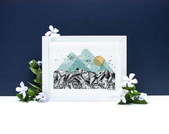 The Mountains - A4 or A3 Artists Print