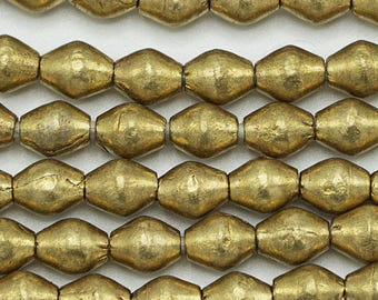 85 Brass Handmade Bicone Ethiopian Beads (7mm) - Recycled Hand-forged African Beads - Upcycle Beads -Tribal Trade Beads (103-ETH-MET)