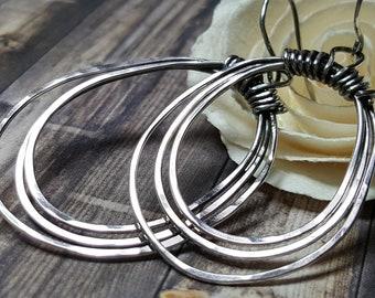 Sterling Silver Hoop Earrings Tribal Primitive Boho #1702