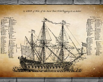 "1728 British War Ship Drawing ""A Ship of War of the Third Rate""  - Sailing Ship - Art Print -  Nautical Wall Art - UK Art - British Art"