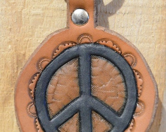 Blue Peace Sign Keychain