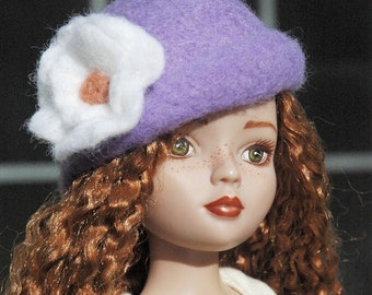 Lilac cloche with White Flower