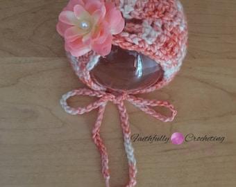 Newborn bonnet.. Peach rose hair clip.. Photography prop.. Ready ro ship