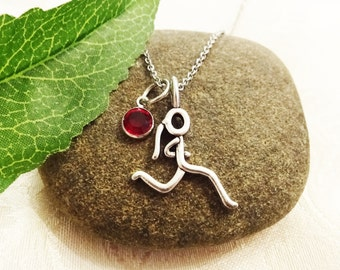 RUNNING GIRL NECKLACE with Swarovski birthstone channel crystal - choice of chains - one flat rate shipping in my shop :)