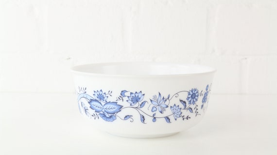 Round Arcopal pot bowl with blue motif Midcentury 70 s glass