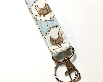 Chicken Keychain, Fabric Key Fob With Snap, Light Blue