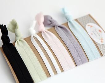 Elastic No Crease Hair Ties - Pastels - Hair Ties - Set of 6