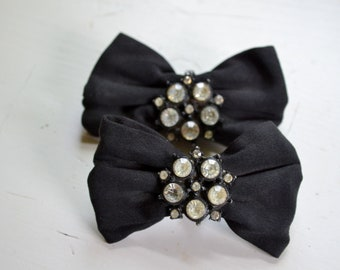1940s Black Bow and Rhinestone Shoe Clips