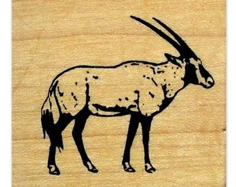GEMSBOK African Antelope mounted rubber stamp, animal, safari, travel journal stamp, Sweet Grass Stamps No.17
