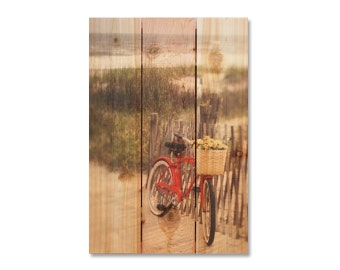 16x24 Red Bicycle on Cedar, Home Decor, Indoor or Outdoor Art, Wall Hanging. (SED1624)