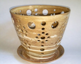 Marbled Clay Orchid Flower Pot with Air Vents and Matching Drip Saucer - Make Your Orchid Happy! Wheel Thrown Pottery