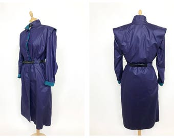 Vintage 1980s purple and turquoise overcoat raincoat - size M