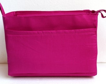 Extra tall Large Bag insert /Purse insert with Zipper closure  and iPad case in Pink fabric