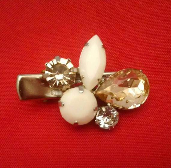 White multigem tichel/scarf clip, hair clip, hair accessories, scarf accessories, hair jewelry