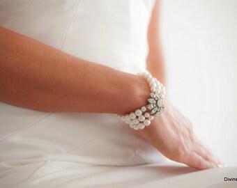 Wedding Pearl Bracelet Bridal Rhinestone Bracelet Rhinestone and Pearl Bracelet crystal bracelet Bridal Statement Bracelet cuff  SAVANNAH