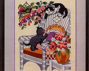 Vintage Cross Stitch Kittens by Kathleen Hurley, American School of Needlework, 7 Adorable Cat & Kitten Designs