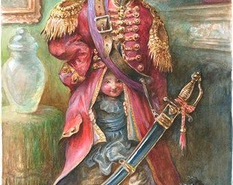 Children Disguised as the Baron - extraordinary adventures of Baron Munchausen watercolor illustration