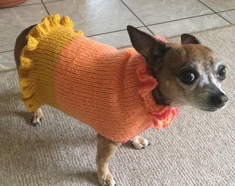 Ruffled doggie sweater- knitting pattern