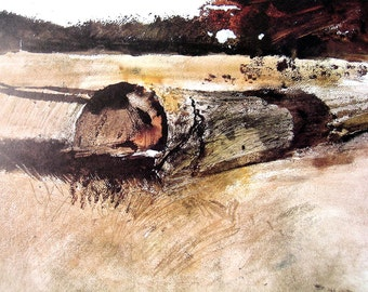1976 Andrew Wyeth Print - Sketch - Study for Ground Hog  Day - 10 x 13 Vintage Book Page