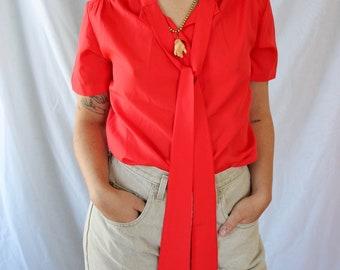 Vintage blouse // vintage top // Red Shirt